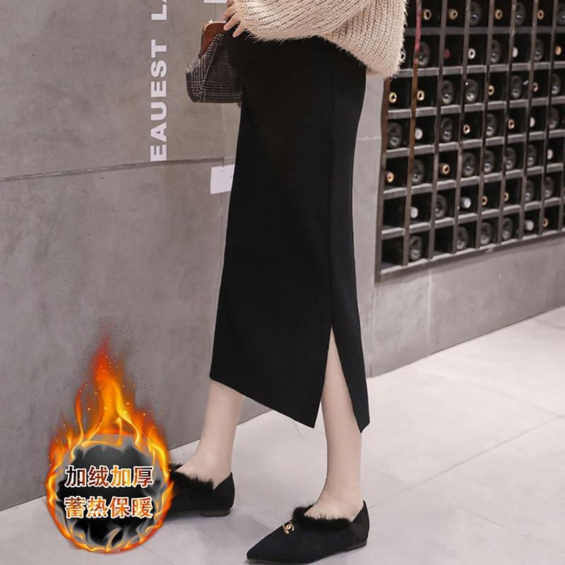 Photo Shoot Maternity Clothes Skirt Autumn & Winter Pregnant Women Mid-length Plus Velvet Fashion Fashion Mom Knit Slit Skirt Sk