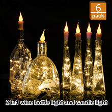 Wine Bottle Lights Candle String Lights, 20 LED Warm White Cork Shape Silver Copper Wire Colorful Fairy Mini DIY
