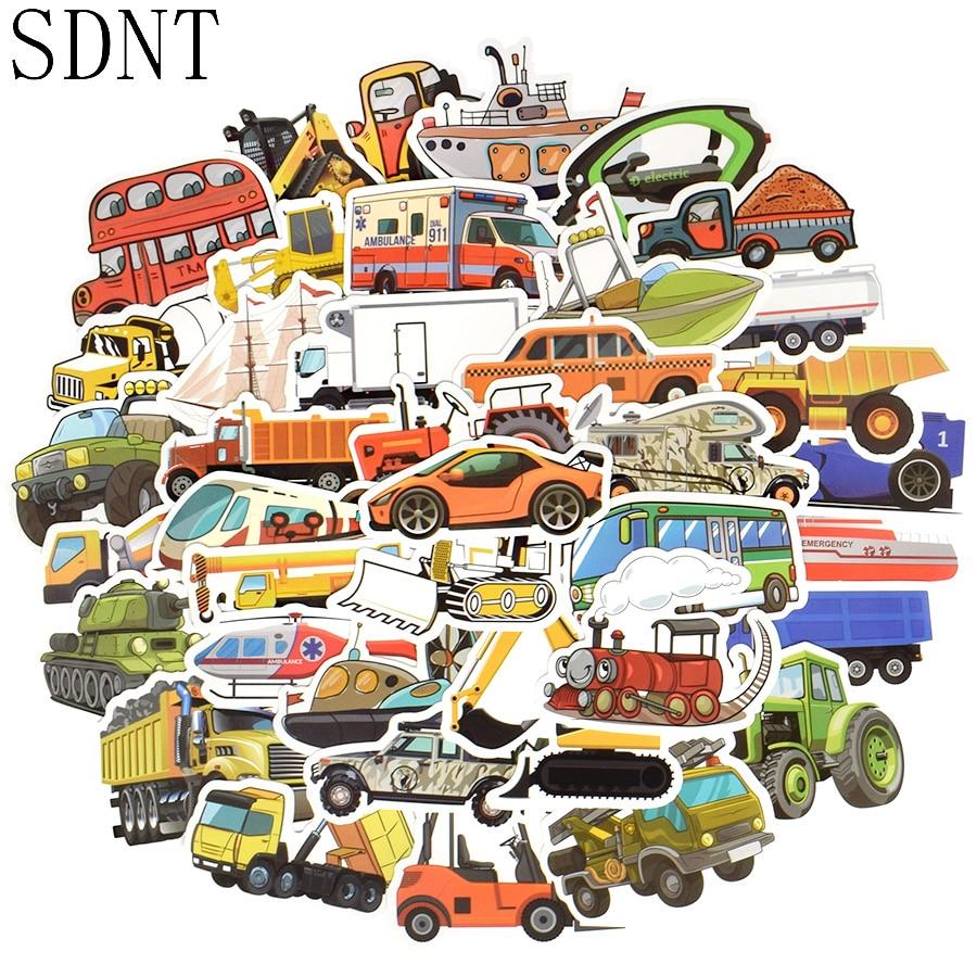 50 PCS Transportation Cartoon Sticker Toys For Boys Car Ship Aircraft Anime Sticker For DIY Kids Toys Room Learning Traffic Tool