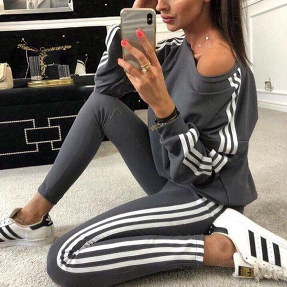 ICozzier Large Size Women's Fat Mm Sweater Suit Tracksuit For Women Spring And Autumn New Long-sleeved Casual Two Piece Set