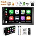 Автомагнитола 2DIN, 7 дюймов, MP5 плеер, Android, Apple Carplay, сенсорный экран, Bluetooth, USB, ИК, 8 светодиодов, камера заднего вида