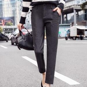 Image 3 - Harem Pants Women 2019 Autumn Winter Vintage Plaid Gray High Waist Female Trousers S~3XL Casual Ankle length Woman Woolen Pants