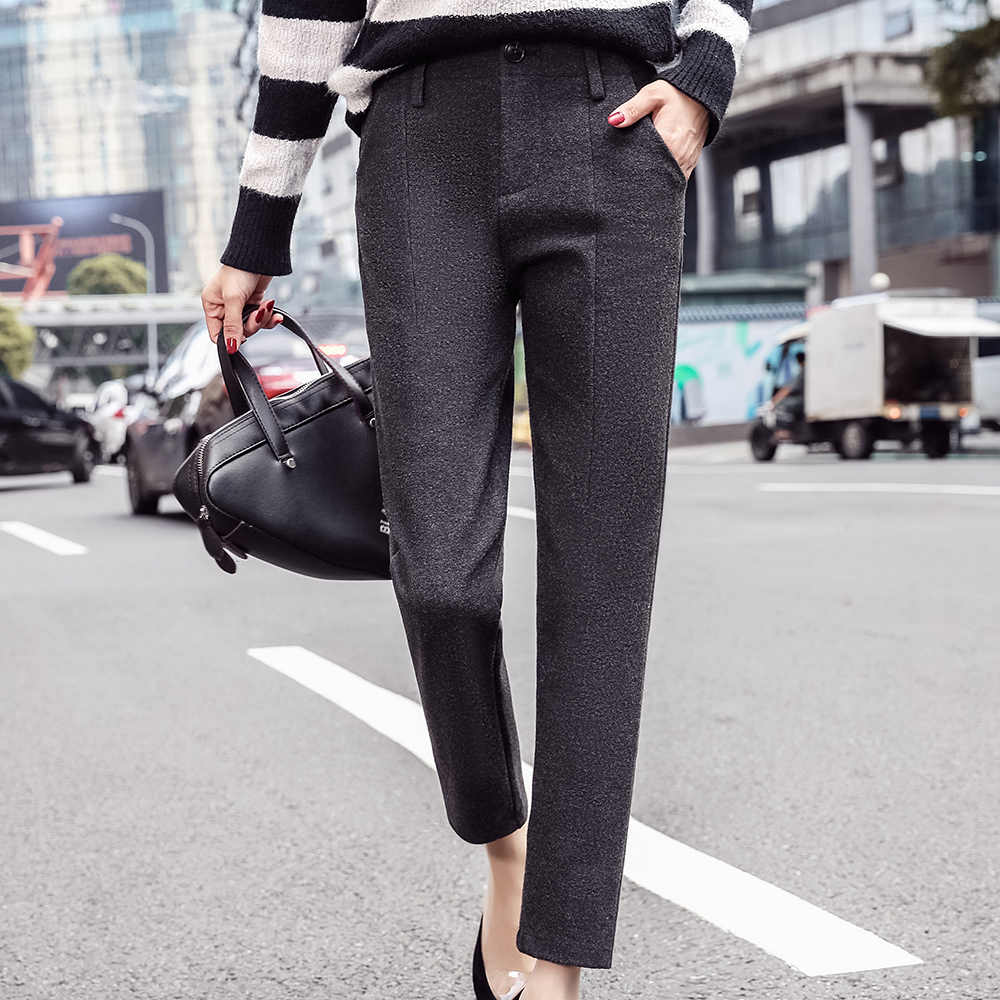 Pantalones Harem mujer 2019 Otoño Invierno Vintage cuadros gris alta cintura pantalones femeninos S ~ 3XL Casual hasta el tobillo mujer Pantalones de lana