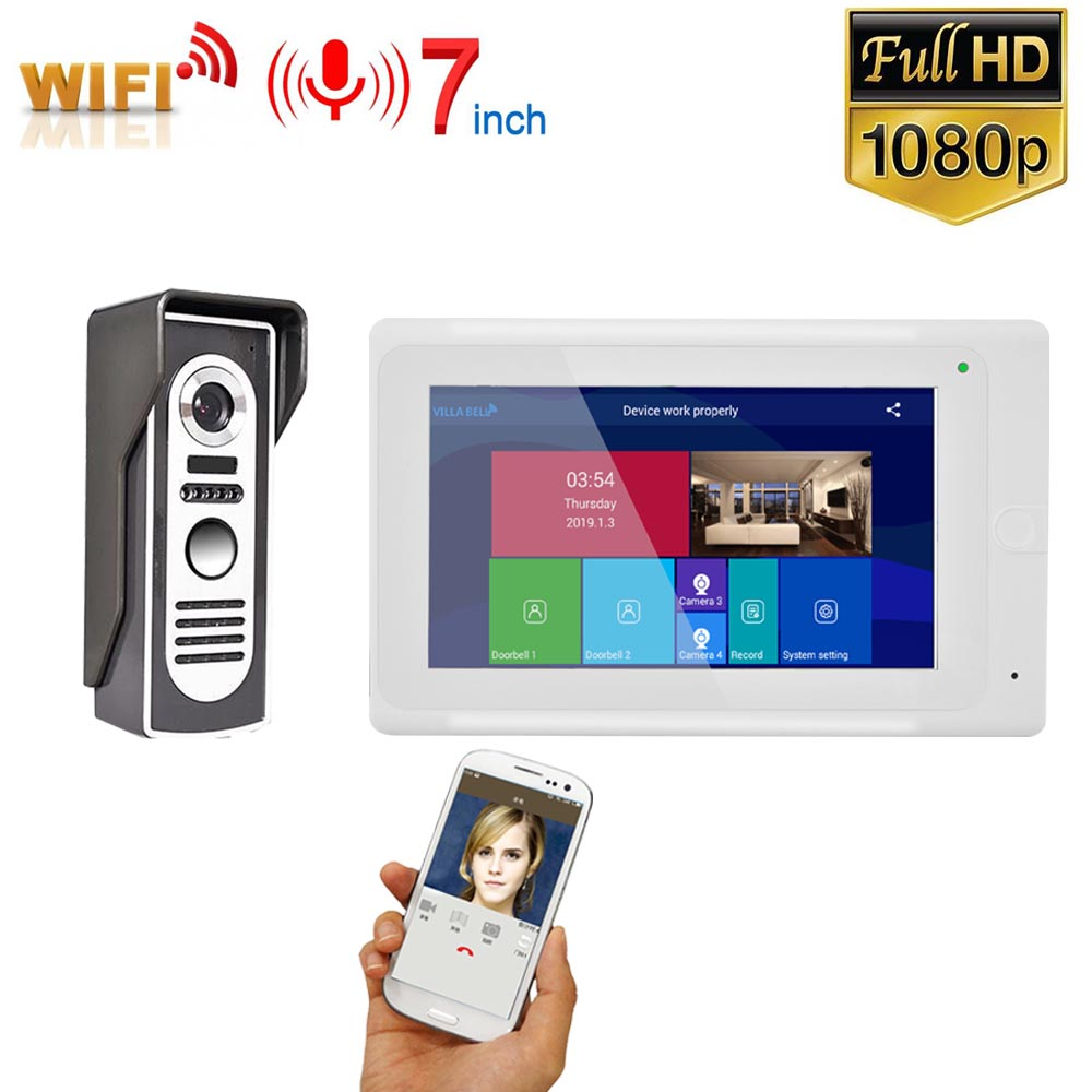 7 Inch Wireless WIFI Video Door Phone Doorbell Intercom Entry System With Wired HD 1080P Wired Camera Night Vision,Support Remot