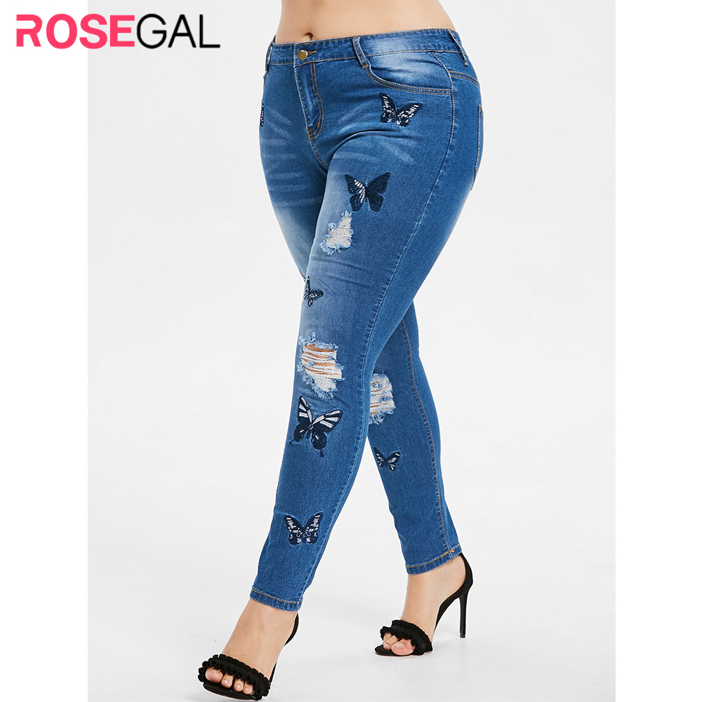 ROSEGAL Plus Size Butterfly Embroidered Ripped Jeans Zipper Fly Women High Waist Pencil Pants Casual Big Size Tunic Trousers