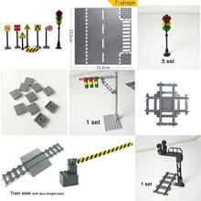 Baseplate City Road Street traffic light Base Plate Building Blocks mini model Compatible All Brands city signal light toys