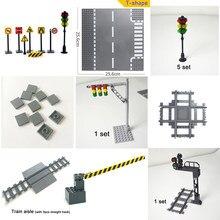 Placa Base para luz de tráfico urbano, ciudad, carretera, bloques de construcción, mini modelo, Compatible con todas las marcas, señal de ciudad, juguetes ligeros
