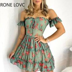 Для женщин рюшами Цветочный принт с открытыми плечами и оборкой по краю мини-платье без рукавов, платье для женщин, летнее платье