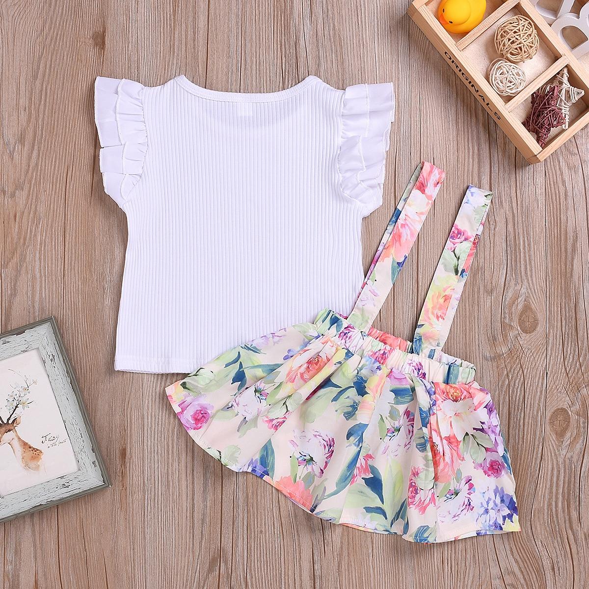 Cotton Printed Strap Dress Suit Girls Clothes L4.17 1