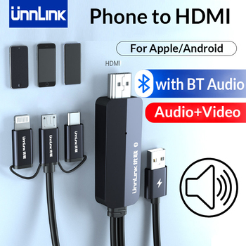 Unnlink USB to HDMI with Audio Mirror Cast Cable MHL for iPhone iPad Android Phone to LED TV Projector Type C Micro USB to HDMI