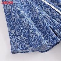 Tangada 2021 Women Print French Style Lace Patchwork Dress Flare Short Sleeve Ladies Long Dress Vestidos 3H239 4