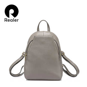 REALER fashion women genuine leather backpacks for girl high quality female shoulder bags teenagers schoolbag mochila small girl - DISCOUNT ITEM  56% OFF All Category