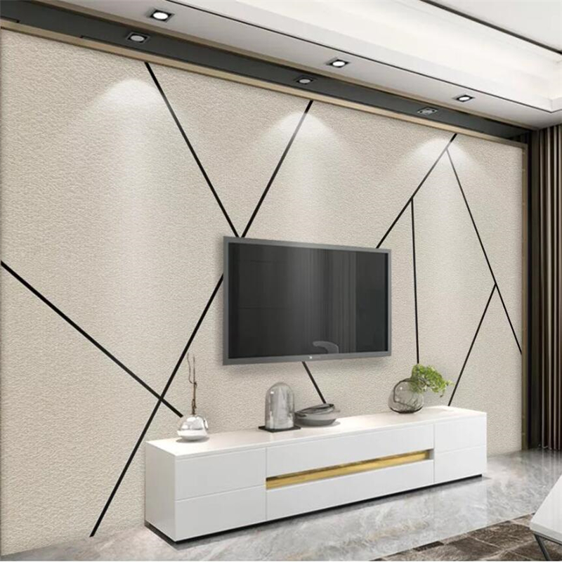 Beibehang Custom Wallpaper 3d Mural Nordic Minimalist Personality Abstract Geometric Line Square TV Wall Papers Home Decor Mural