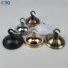 Ceiling Plate Base Black/White/Bronze/Gold/  66mm DIY Round Iron+ Hook Ceiling Mount Pendant Lamp Base ceiling plate lamp base diy round iron lock line black white gold silver 66mm pendant lamp base