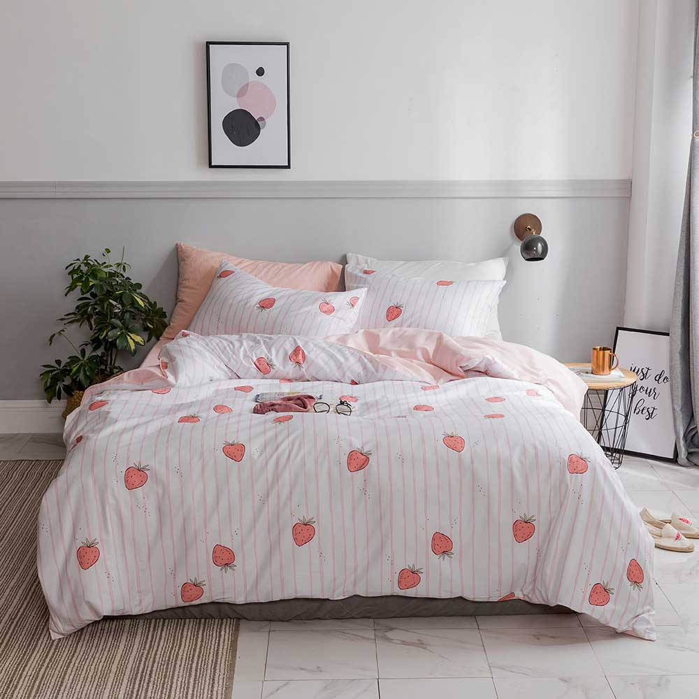 Luxury Cartoon Floret Bedding Sets for Kids Girl Adult Duvet Cover King Queen Size Pink Strawberry Bed Home Textiles Bedclothes