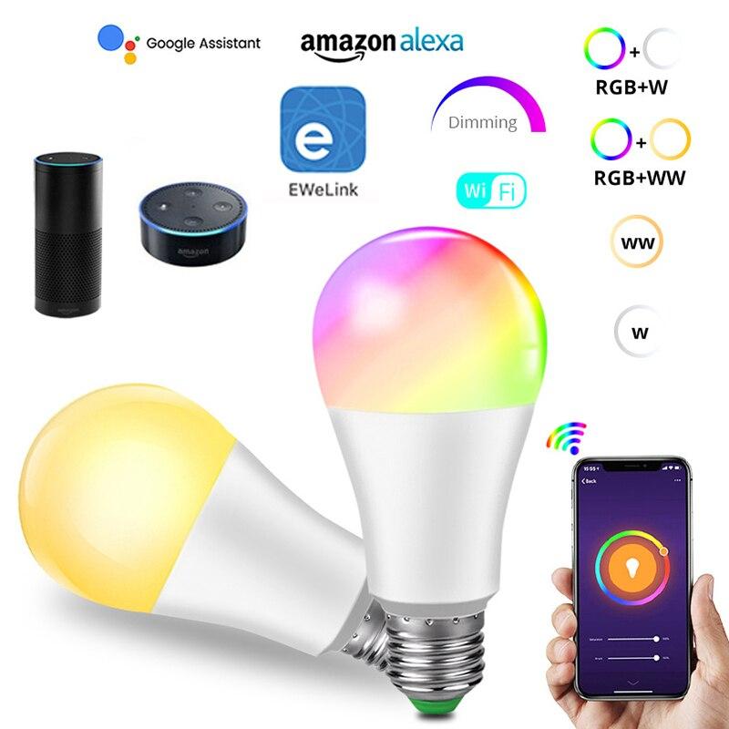 Ewelink app controle inteligente luz 806lm e27 85-265v 9w branco/morno/rgb + cct timing pode ser escurecido cor lâmpada trabalho com alexa google