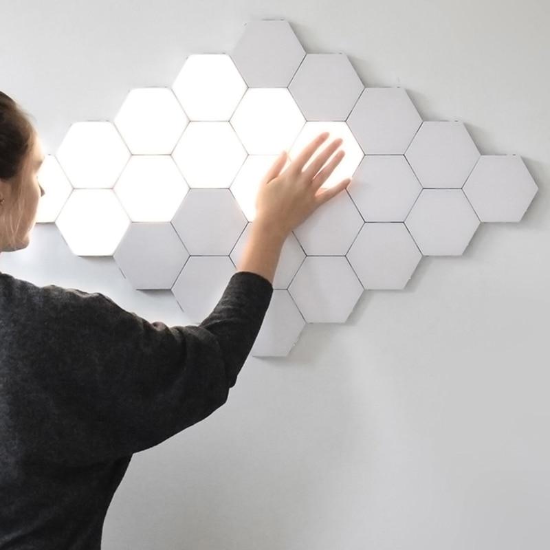 Işıklar ve Aydınlatma'ten Duvar Lambaları'de Modern led duvar Lambası loft İngiliz Yaratıcı Petek Modüler Montaj Helios Dokunmatik Duvar Lambası Kuantum lamba Manyetik Duvar Lambası title=