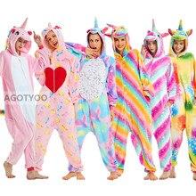 Women Unicorn Pajamas Sets Kigurumi Flannel Cute Animal Pajamas Kids Women Winter Stitch Tiger Nightie Pyjama Sleepwear Homewear