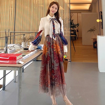 Banulin Runway Designer Fashion New 2 Piece Floral Print Pleated Skirt set Women Bow Lace up Shirt and Mesh Suits