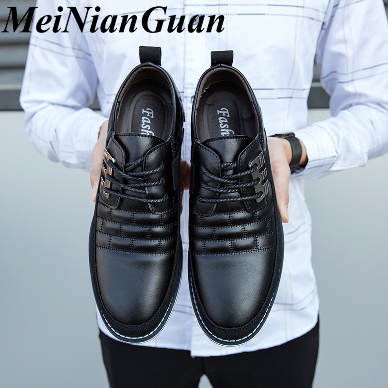 Spring Autumn Men's Leather Shoes Black Sneakers Lace Up Leather Shoes For Men Business Shoes Simple Male Shoe Large Sizes 48 K1