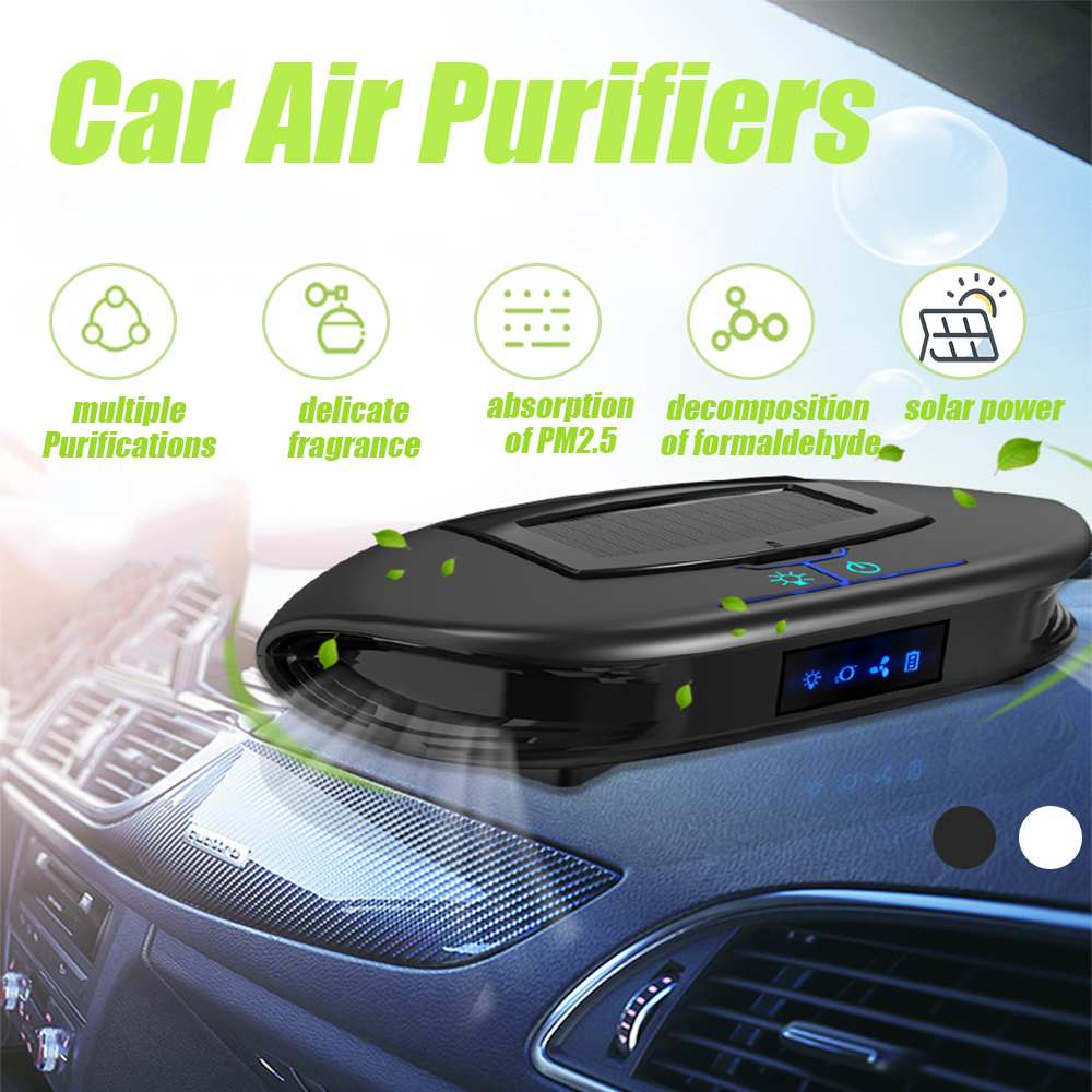 Solar Car Air Purifiers Sterilizer Addition To Formaldehyde Wash Cleaning Office Household Car Hepa Filter PM2.5 Smoke Purifier