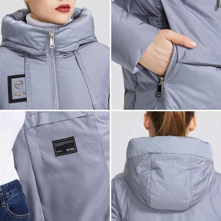 Miegofce 2019 coleção feminina inverno jaqueta quente e dá um colar resistente ao vento com capuz clássico esporte casaco