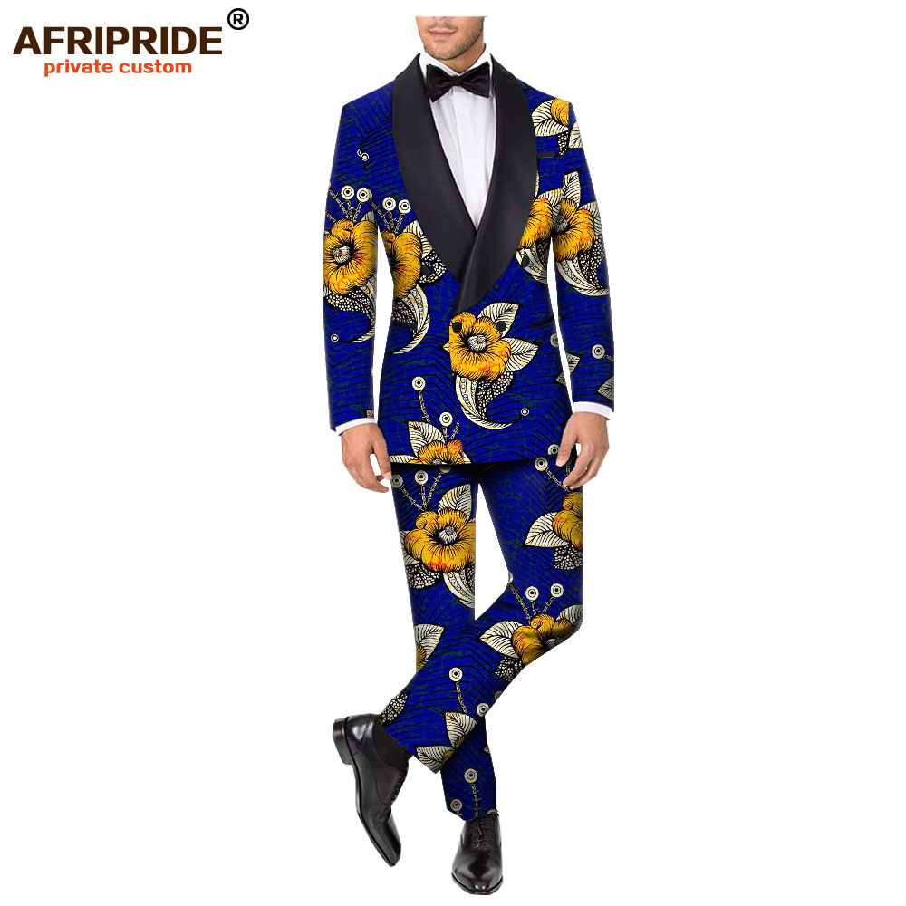 2019 African Clothing For Men Print Blazer Coats Jacket+ Ankara Pants Slim Fit Prom Dinner Party Suit Wear AFRIPRIDE A1916060
