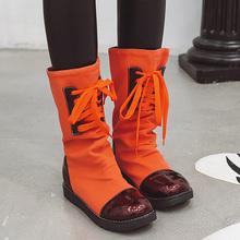 Rimocy damskie fioletowe pomarańczowe buty ze skórki cielęcej jesienno-zimowa moda płócienne buty wojskowe płaskie klapki damskie buty Plus rozmiar 34-43 tanie tanio Połowy łydki Pasuje prawda na wymiar weź swój normalny rozmiar Okrągły nosek Wiosna jesień Slip-on Stałe Mieszkanie z