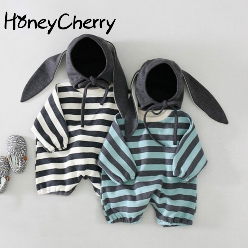 2020 Infants And Children Climbing Clothes Cotton Striped Wild Autumn Paragraph Hooded Leotard Romper