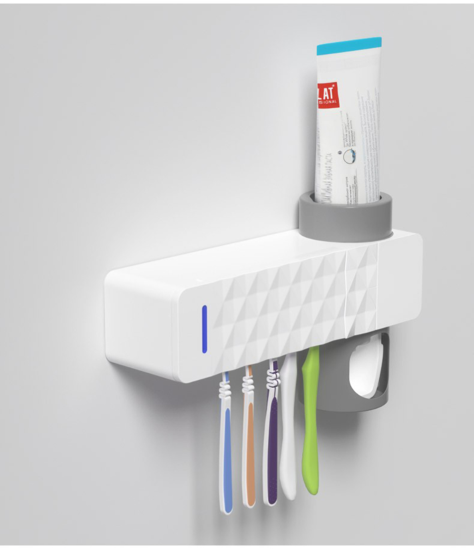 GURET 3 in 1 UV Toothbrush Sanitizer with Automatic Toothpaste Squeezers as Bathroom Accessories 23