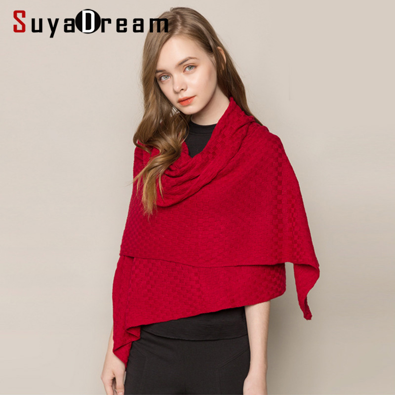 SuyaDream Winter Cashmere Warm Scarf 185cm Length 85%Silk 15%Cashmere Comfortable Knitted Solid Scarfs 2019 New