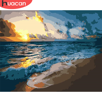 HUACAN DIY Pictures By Number Seaside Kits Home Decor Painting By Numbers Sunset Drawing On Canvas HandPainted Art Gift