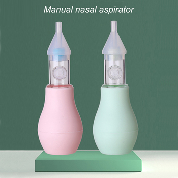 Portable Baby Manual Nasal Aspirator Silicone Nose Mucus Cleaner Suction Soft Tip Snot Sucker Pump baby newborn nasal aspirator suction soft tip mucus vacuum runny nose cleaner b116