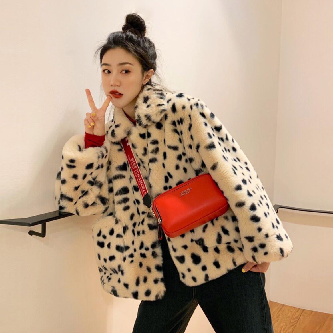 Plush jacket women winter short 2021 new Korean version of loose lamb wool faux fur leopard Innrech Market.com
