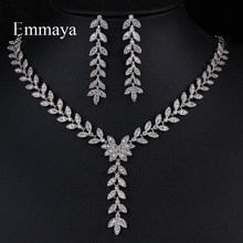 Emmaya New Fashion Natural Style Leaves Shape Drop Earring And Necklace Cubic Zircon Female Charming Jewelry Sets In Banquet(China)