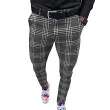 Men's Pants Smart Casual Fashion Men's Clothing Plaid Pencil Pants Thin Mid Waist Jogger Casual Trousers Pants for Men