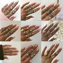 Boho nova ajustável cristal opala olho virgem mary anel mix conjunto para as mulheres do vintage geometria moda anéis feminino festa jóias presente