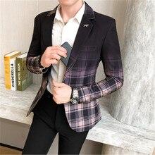 Men Suit Coat Slim Fit Plaid Gradient Blazer Jacket SF