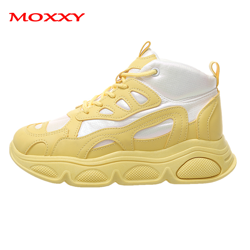 2019 New Brand Beige Black Yellow Sneakers Women Shoes Designer Chunky Sneakers Platform Casual Shoes Female High Top Basket