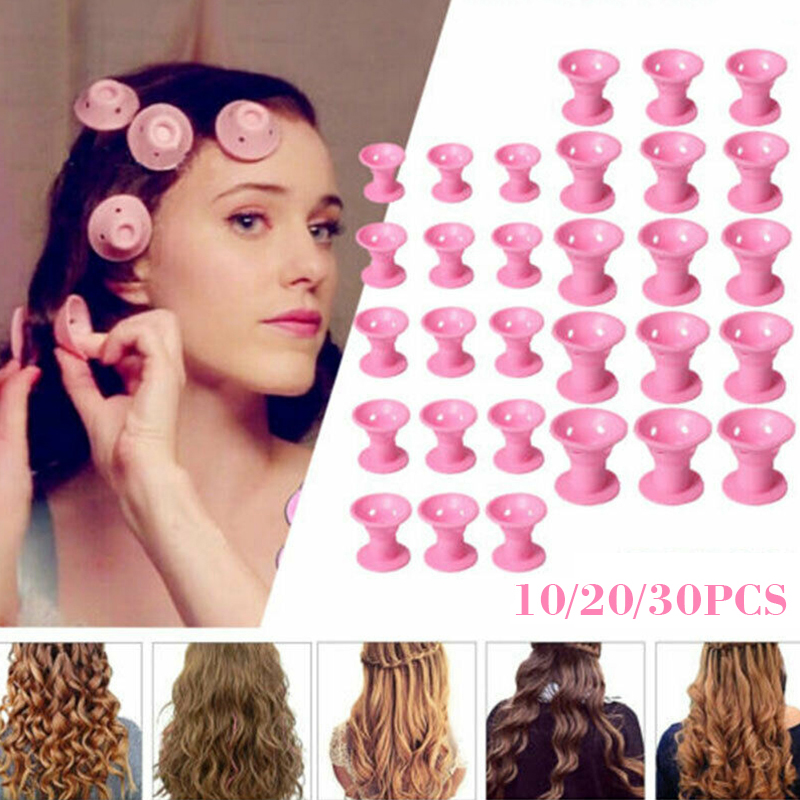10/20/30pcs/set Soft Rubber Magic Hair Care Rollers Silicone Hair Curler No Heat No Clip Hair Curling Styling DIY Tool