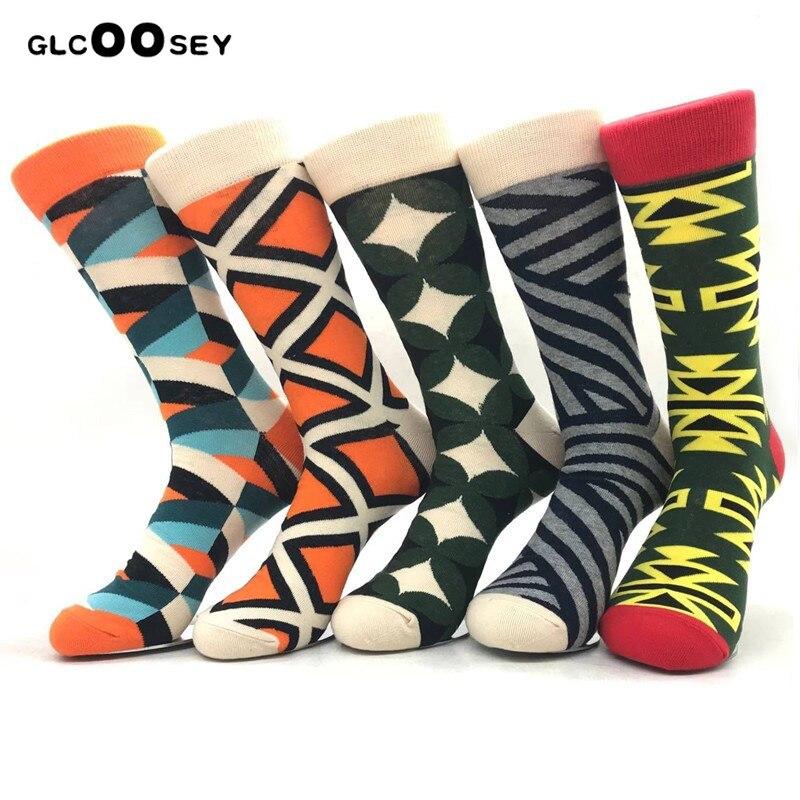 Men's Funny Combed Cotton Happy Socks Colorful Multi Pattern Long Tube Skateboard Casual Socks For Men