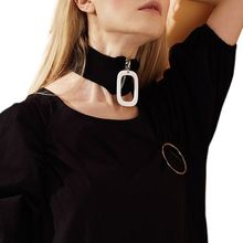 Womens Winter Choker Geometric Ring Zipper Ribbed Knit Neck Warmer Scarf