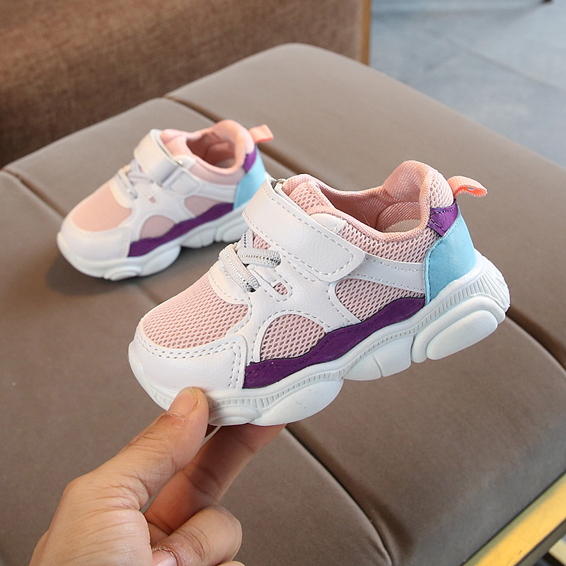 Kids Sport Shoes Spring Net Cloth Breathable Boys Sneakers Soft Bottom Patchwork Children Girls Baby Running Shoes SHS007