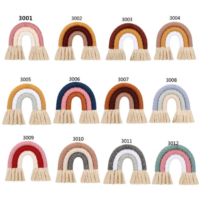 3 Layers INS Nordic Home Weaving Rainbow Tapestry Cotton Hand-Woven Color Ornaments Children Room Decoration Tassel Wall Hanging