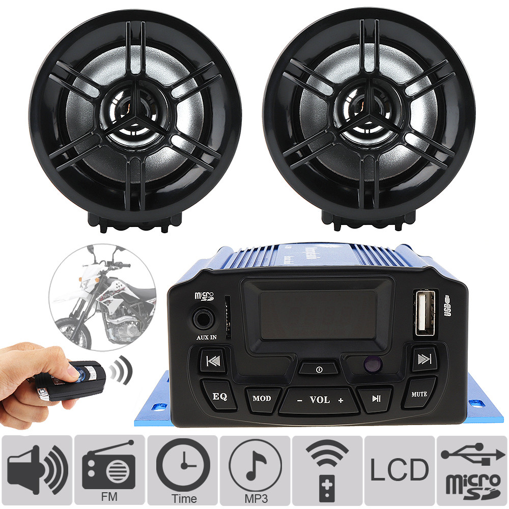 12V Waterproof Motorcycle Speaker Anti-theft Sound MP3 Player With Remote Control Display Screen For Motorbike Electric Vehicle