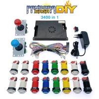 Pandora Saga DIY 3400 in 1 Kit 8 way joystick & American Style Push Button Arcade Pandora Box Game Machine Cabinet DX 2 Playes