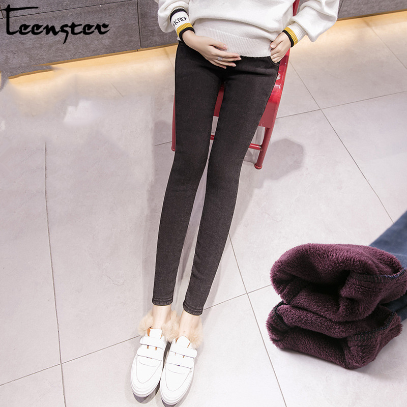 Teenster Winter Warm Fleece Pregnant Jean Maternity Support Bell Denim Pants Autumn Thick Pencil Pants Fall Women Leggings