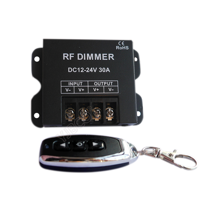 New RF LED <font><b>Dimmer</b></font> Wireless Brightness 3 Keys <font><b>Remote</b></font> Controller DC <font><b>12V</b></font> 24V 30A 360W 720W for 5050 3528 Single Color Strip Lights image