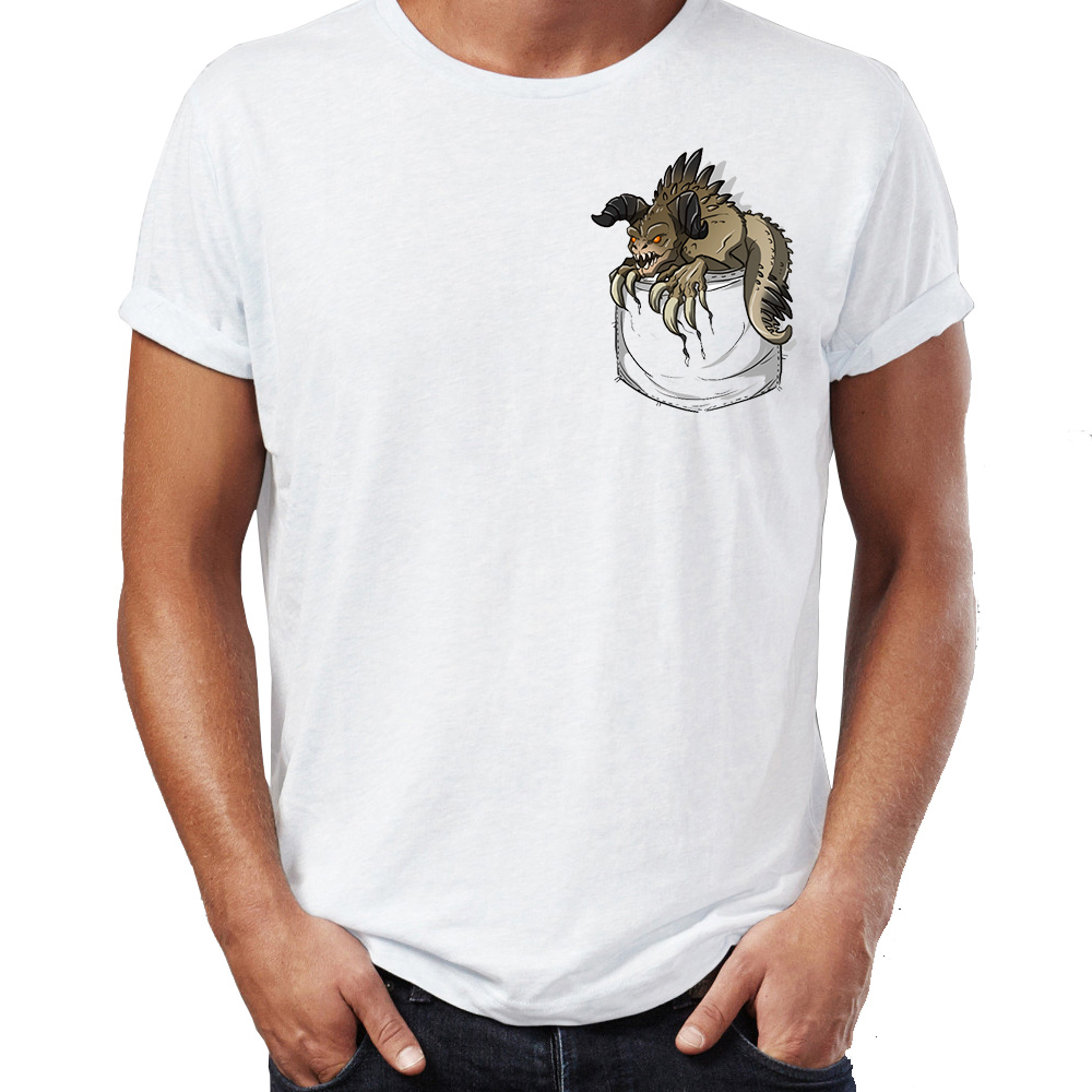Hip Hop Men T-shirts Deathclaw Fallout Gaming Badass Pocket Jurassic Park Parody Street Guys Tees Swag 100% Cotton Camiseta
