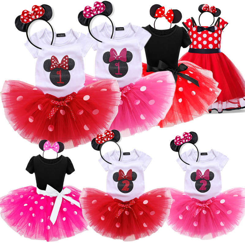 Minnie Dots Baby Girls Dress 1st Birthday Outfit Fancy Tutu Dresses Girl Infant Costume For Kids Party Clothes Girl 1 2 Years